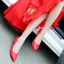 包邮2016新款绣花尖头细高跟大红色美美婚鞋 新娘鞋女 伴娘