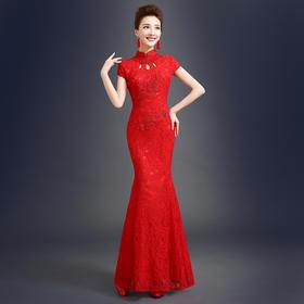 新娘结婚礼服 敬酒服夏新款 旗袍裙红色时尚复古蕾丝修身