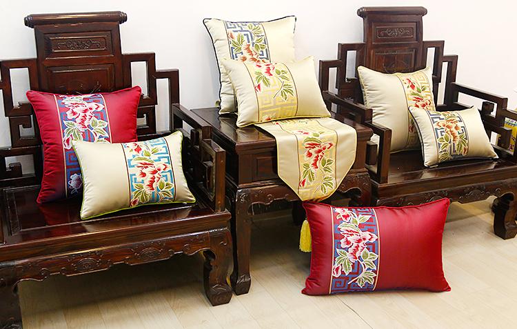 新款中式红木沙发奢华绣花大抱枕含芯床头靠垫套办