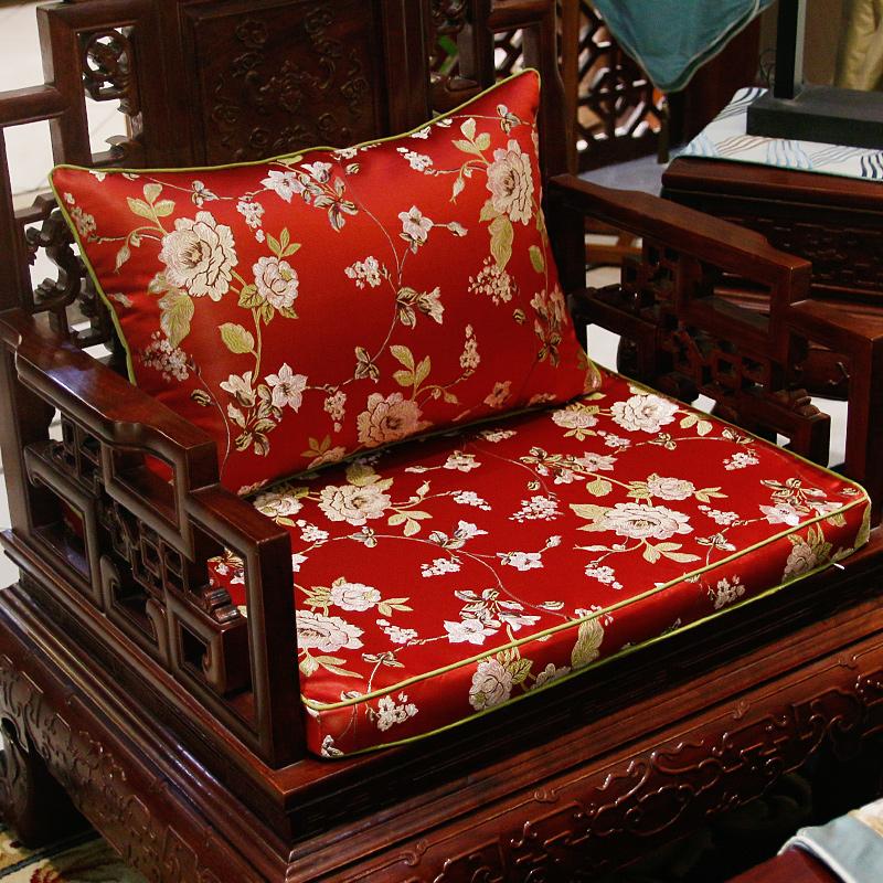 绸缎提绣婚庆中式靠垫含芯 复古典红木沙发靠枕/腰枕