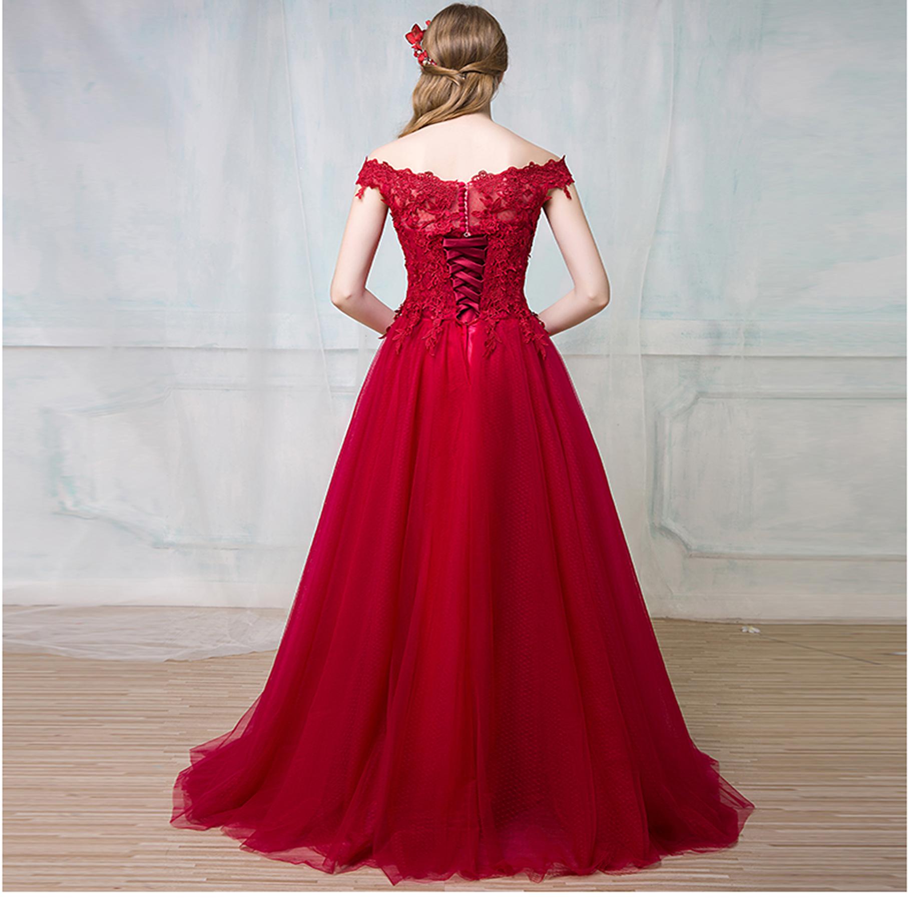 高端新款晚礼服一字肩新娘结婚晚礼服演出宴会晚礼服