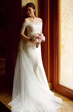 美美的出嫁——一字肩鱼尾婚纱