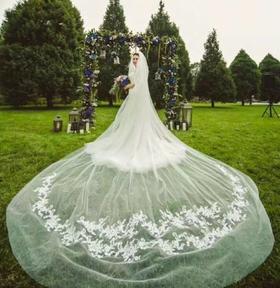 梦幻的长拖婚纱