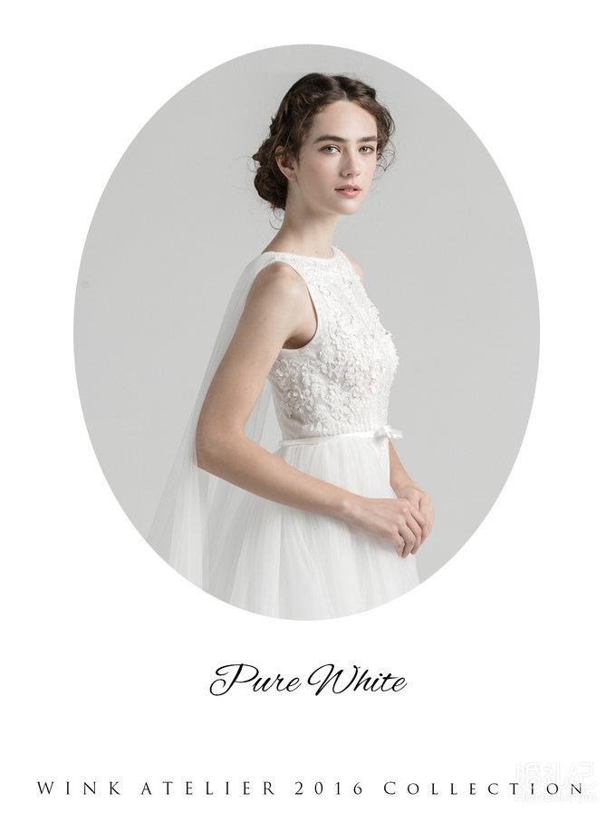 Pure White优雅钉珠两穿婚纱