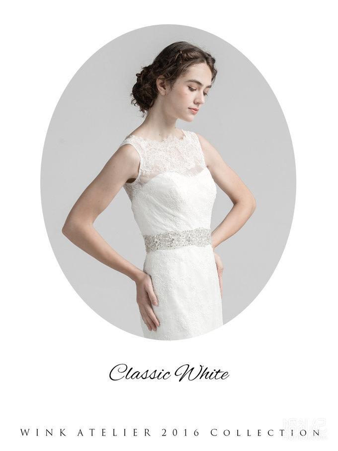 Classic White车骨蕾丝水钻装饰鱼尾款