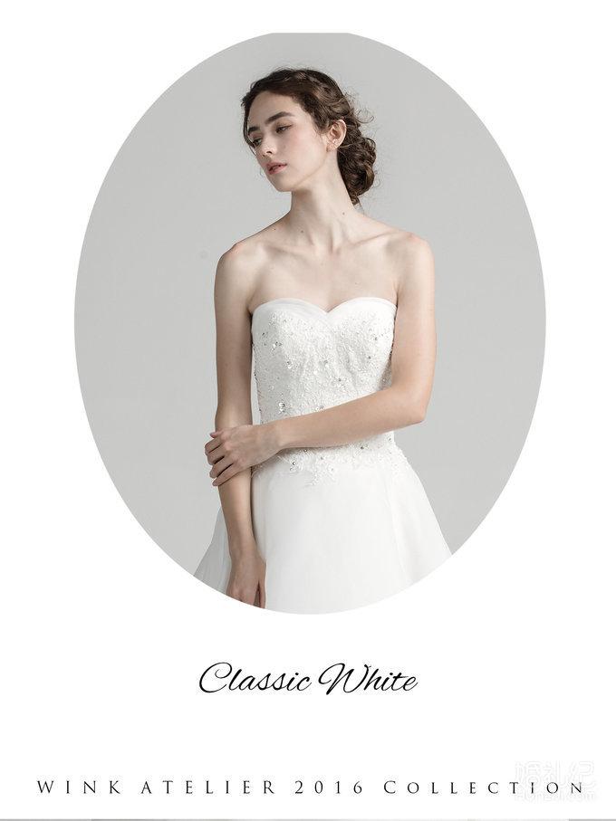 Classic White水钻装饰薄纱A字款