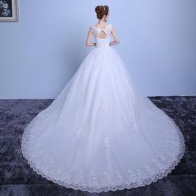 婚纱礼服新款2016时尚红色大拖尾新娘双肩蕾丝婚纱