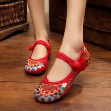 2017春夏新款中式婚鞋中国风绣花民族老北京绣花牛津布鞋单鞋