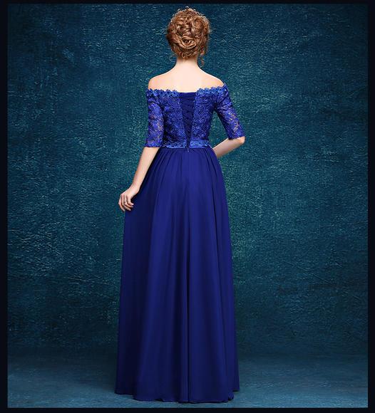 高端新款宝蓝色一字肩长款晚礼服