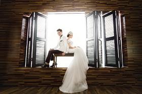 木系浓情的精致婚纱照