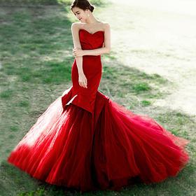 「韩国本土婚纱摄影」纪实风·红色主题服装