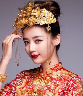 金丝银线五福龙凤褂+新娘西式婚纱