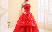 婚纱摄影情侣主题新娘白色抹胸婚纱外贸齐地结婚婚纱礼服新款红