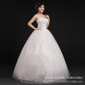 新款婚纱 苏州婚纱厂家 白色齐地新娘绑带抹胸烫钻蕾丝