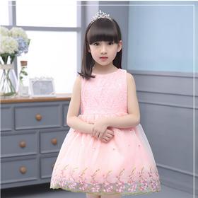 儿童礼服裙女童无袖白色婚纱裙中大童公主蓬蓬裙小孩连衣裙韩国夏
