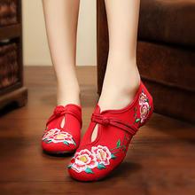 老北京布鞋夏季新款平底绣花鞋舞蹈鞋子套脚透气休闲民族风新娘鞋