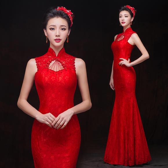 晚礼服新款夏季鱼尾新娘敬酒服长款修身红色显瘦结婚旗袍