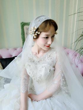 【卡卡夫人婚纱定制】中袖钉珠多层蕾丝婚纱