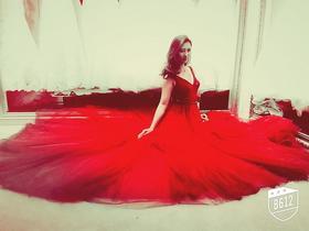 【艾珐婚纱】酒红V领纯手工订珠进口礼服