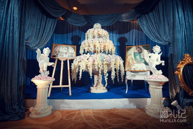 深蓝色主题婚礼,欧式宫廷风