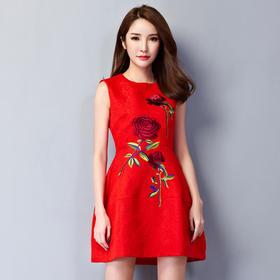 新款修身夏季新娘孕妇敬酒服短款刺绣结婚小礼服红色晚礼