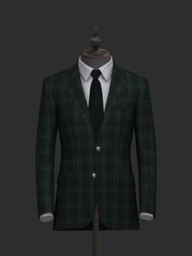 深藏底绿格纹修身款结婚礼服
