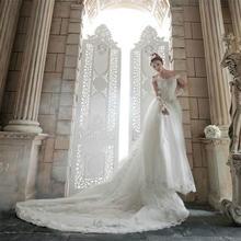 2016新款新娘一字肩抹胸蕾丝拖尾蓬裙高档时尚婚纱M3046