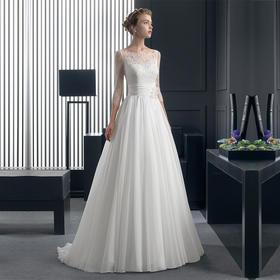 新款白色一字肩新娘高端奢华拖尾大码韩版婚纱M3040
