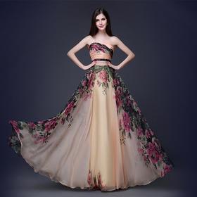 新款外贸大码印花抹胸新娘礼服宴会服演出服M1532