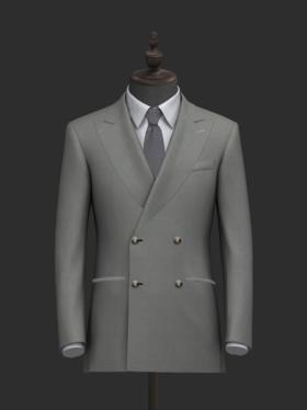 清新淡雅灰戗驳领男士西装