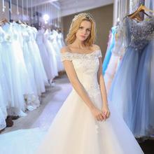 韩式新娘蕾丝一字肩修身拖尾齐地公主婚纱礼服2017新款