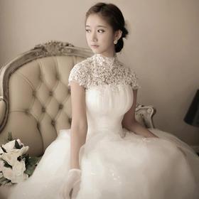韩式蕾丝挂脖公主新娘绑带齐地露背婚纱礼服