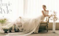 韩式新娘奢华蕾丝露背一字肩鱼尾拖尾婚纱礼服新款