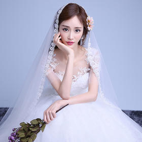 新款齐地婚纱礼服双肩中袖蕾丝花朵韩式简约显瘦新娘