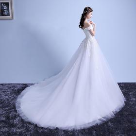 新款一字肩定制新娘抹胸显瘦韩版一字领拖尾婚纱礼服