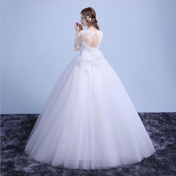 韩式新款新娘齐地婚纱时尚长袖蕾丝修身孕妇大码婚纱