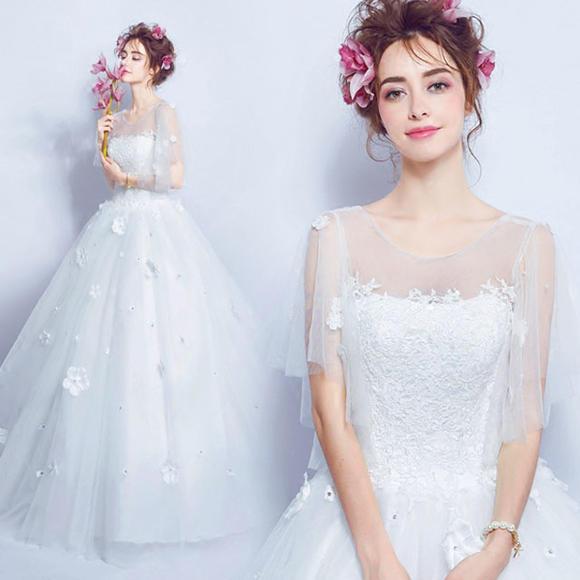超仙遮手臂显瘦蕾丝花朵透视公主新娘修身齐地一字肩婚纱礼服