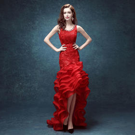 红色蕾丝露背鱼尾拖尾新娘结婚敬酒服长款婚纱礼服