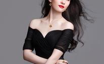 刘亦菲明星同款黑色晚宴年会舞台演出中长袖婚纱礼服