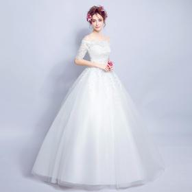 甜美修身蕾丝一字肩中长袖公主新娘齐地婚纱礼服
