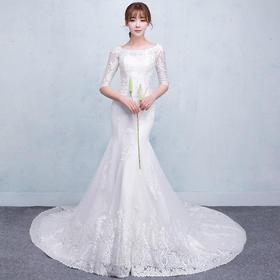 婚纱礼服新款夏季一字肩中袖鱼尾小拖尾修身新娘结婚收腰