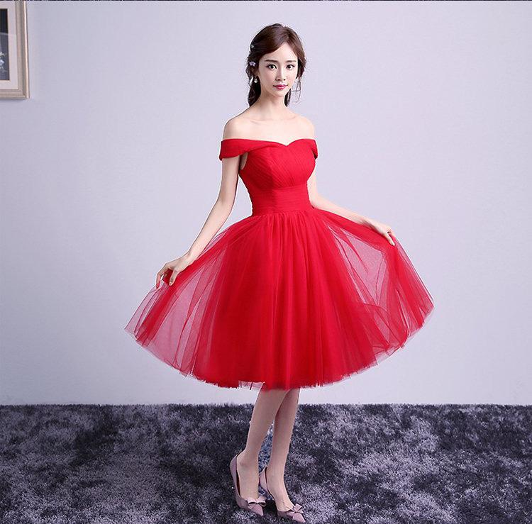 晚礼服2016新款酒红色礼服短款新娘结婚一字肩韩版服