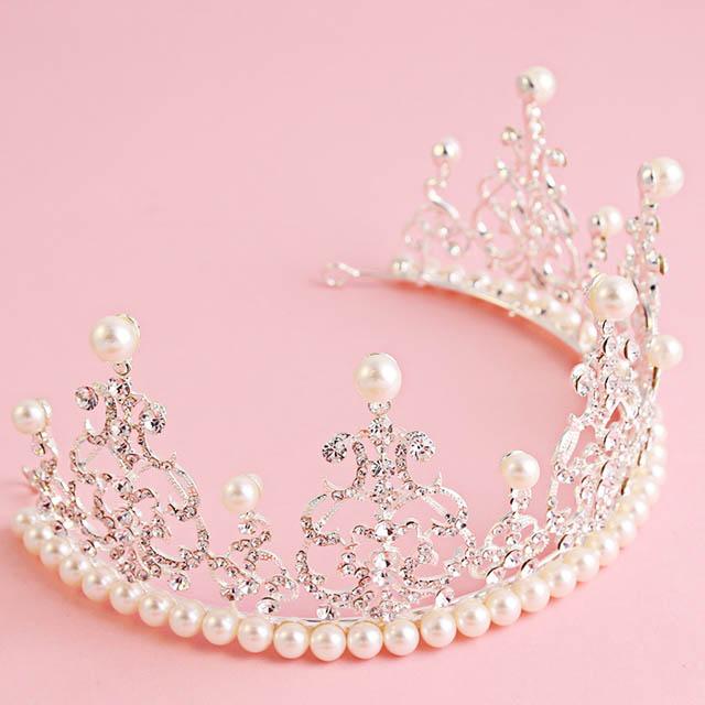 杨颖结婚婚礼baby同款新娘同款皇冠水钻珍珠头饰发饰