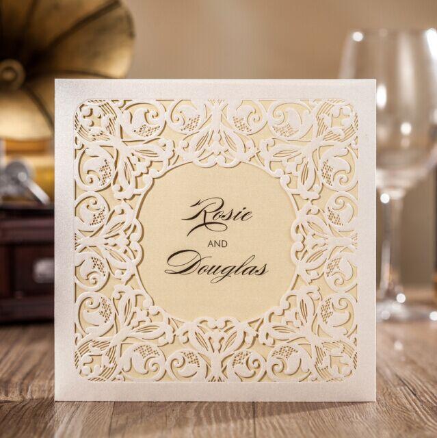 【纯色】纽蔻结婚礼宴席邀请柬/卡/贴 定制镂空设计欧式喜帖