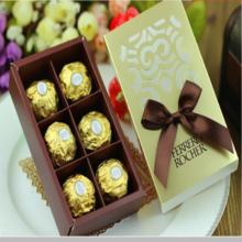 成品含糖 结婚礼创意欧式费列罗巧克力糖盒6粒金色装礼盒喜糖盒