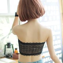 406韩版防走光裹胸 无缝文胸 一片式抹胸花边 蕾丝薄款文胸