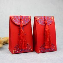 包邮婚庆用品创意结婚中式烫金喜糖盒 婚礼喜糖纸盒配流苏