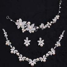 韩式新娘头饰白色发饰结婚纱配饰水钻项链饰品女皇冠三件套装