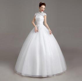 高雅新款韩版式蕾丝齐地婚纱礼服