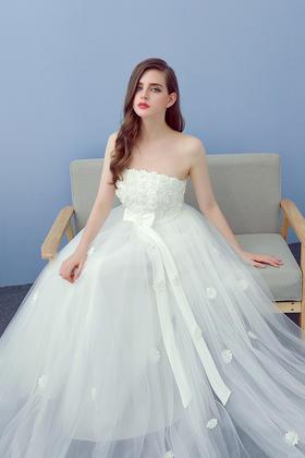 新款韩版高腰孕妇婚纱礼服大码孕妇婚纱 高腰婚纱